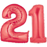 Large Red Number 21 Balloon