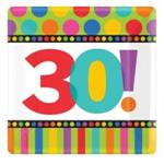 Small Square 30th Birthday Plates, Dots and Stripes
