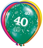 40th Birthday Balloons, Biodegradeable