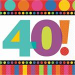 Small 40th Birthday Napkin, Bright and Bold with a large number 40