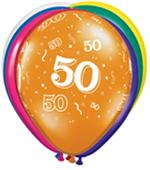 Jewel Tone 50th Balloons Biodegradeable