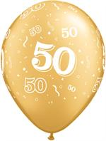 Gold Biodegradeable Balloon cover in the number 50 in white ink