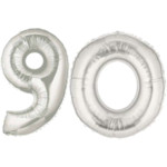 Silver Number 90 Balloon