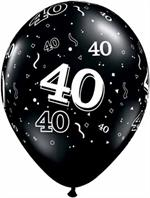 Black 40th Birthday Balloons, 11