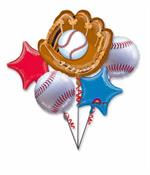 Baseball Themed Party Balloons Baseball Glove, Baseball and Stars