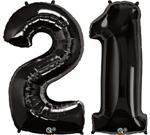 Large Black Number 21 Balloons
