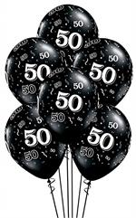 Black Number 50 Around Balloons Biodegradable