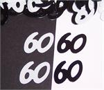 Black and White Number 60 Confetti