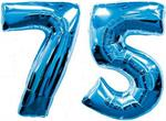 Blue Number 75 Balloons Large to Float with Helium