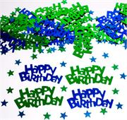 Green and Blue Happy Birthday Confetti
