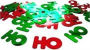 HO HO HO Confetti Red and Green Metallic