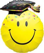 Large Smiley Graduation Balloon