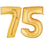Large Gold Number 75 Balloons