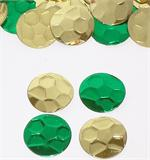 Green and Gold Soccer Ball Shape Confetti Metallic