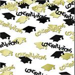 Congratulations Confetti Graduation Black and Gold