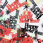 Happy New Year Confetti Starbursts and Words