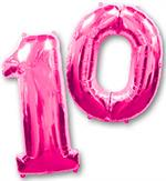 Hot Pink Number 10 Balloons Large Helium Quality