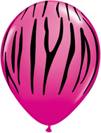 Zebra Stripe Latex Balloons Hot Pink