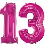 Big Number-13-Balloon-Magenta-Pink