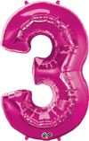 Large Number 3 Shaped Balloon Magenta Pink