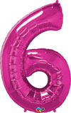 Large Magenta Pink Number 6 Balloon