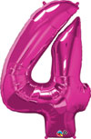 Large Number 4 Balloon Magenta Pink