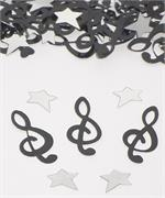 Black Music Note Confetti, Silver Star Confetti