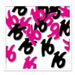Number 16 Confetti Hot Pink and Black