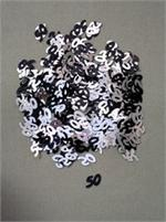 Silver and Black Number 50 Confetti