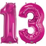 Magenta Number 13 Balloon, Large