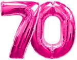 Large Pink Number 70 Balloons Float with Helium