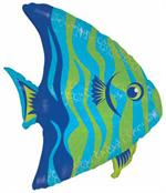 Blue and Green Angel Fish Mylar Balloon