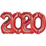 Large Red Number 2020 Balloons Bundle