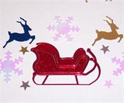 Reindeer Confetti Sleigh and Snowflakes