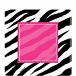 Zebra Party Cake Plates, Square Plates are Fuchsia and Black