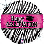 Hot Pink and Black Graduation Balloon 18