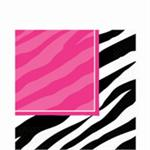 Zebra Print Lunch Napkins, Black and Fuchsia