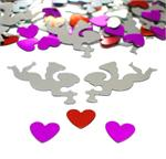 Silver Cupid Confetti, red and fuchsia hearts